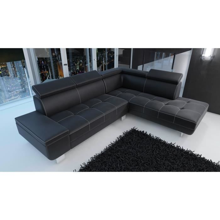 canapé d'angle moderne DAYLON simili cuir noir design