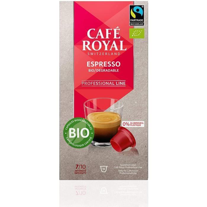 CAFE ROYAL PRO - 16 CAPSULES BIODEGRADABLES - ESPRESSO BIO - Compatibles Machine à Café Royal Pro UNIQUEMENT - Café Certifié Bio