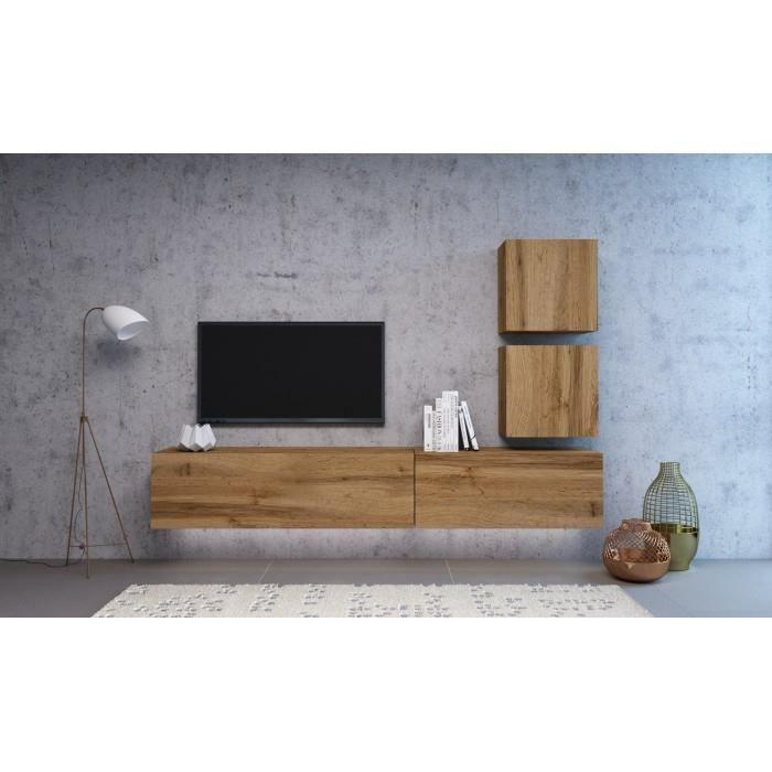 VIVIO - Ensemble meubles TV à suspendre - 4 éléments - Mur TV avec rangements - Unité murale style moderne - Aspect bois - Chêne