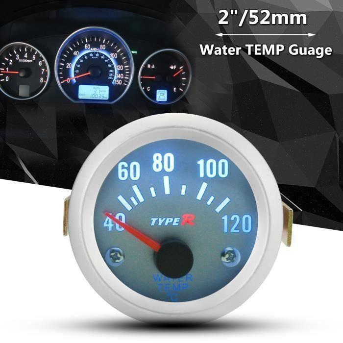 2 52mm Eau Temperature Gauge Jauge Compteur Vitesse Tableau Manometre Auto Moto Wir18
