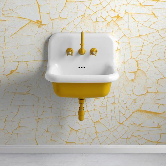 Vasque style école en céramique 60 cm - True Colors - Jaune