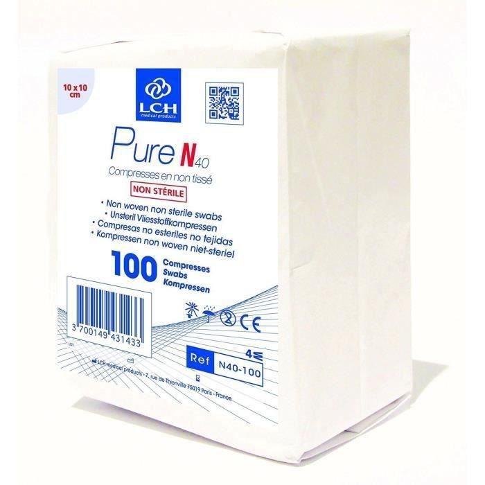 Lot de 1000 Compresses LCH - Non tissée et non stérile - 40 g - 10 x 10 cm - 20 lots de 100