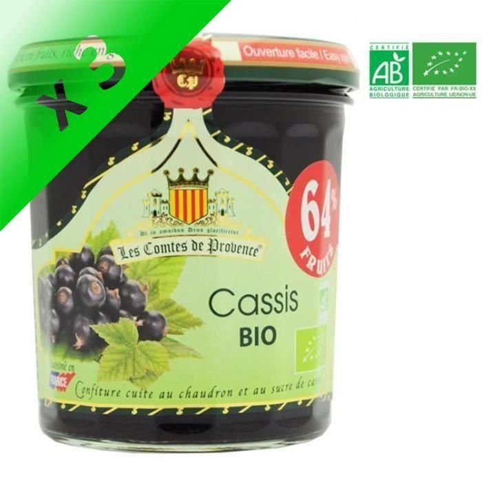 [LOT DE 3] LES COMPTES DE PROVENCE Confiture de Cassis Bio - 350g