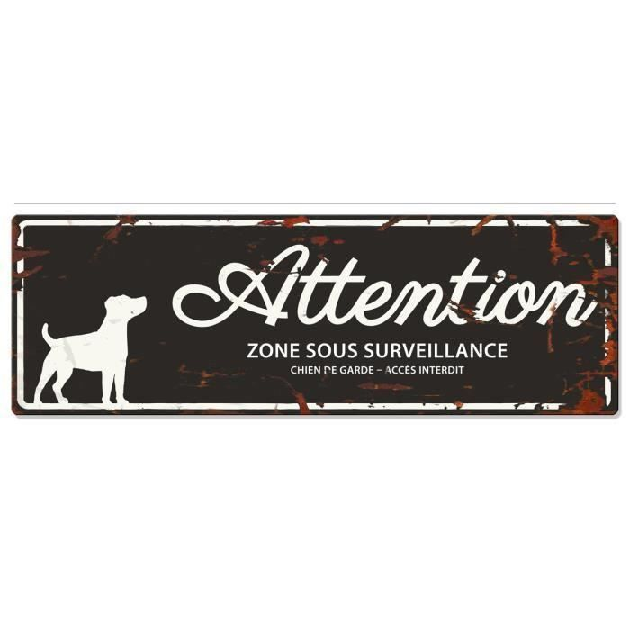 D&D Plaque Attention Chien Jack Russel - Noir (Lot de 3)