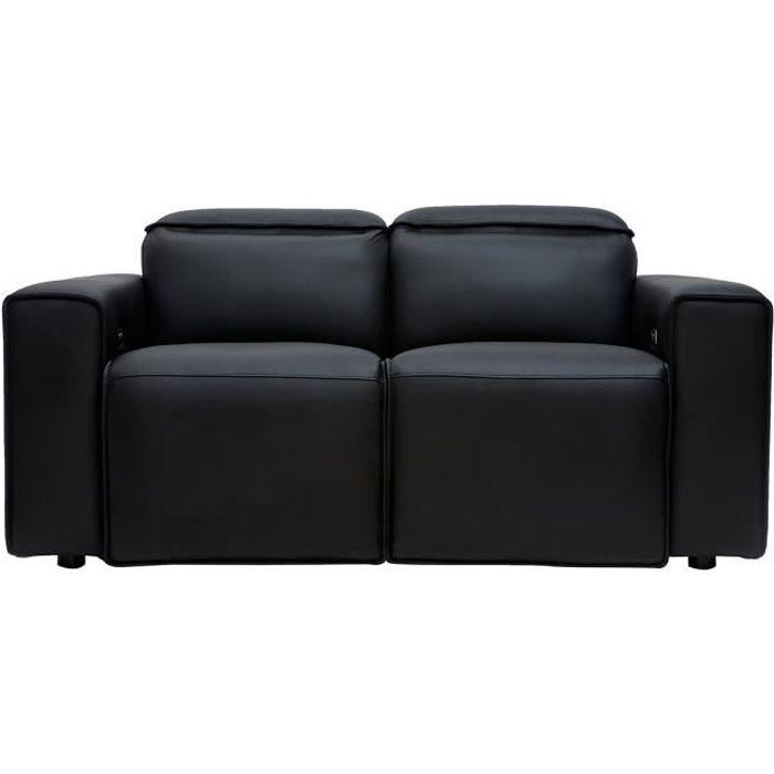 Miliboo - Canapé relax électrique en cuir noir avec têtières ajustables RUIZ
