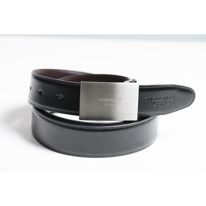 Torrente - Ceinture Reversible Noir/Marron - Cuir - Taille Ajustable - Boucle détachable - Ceinture homme Couture 16