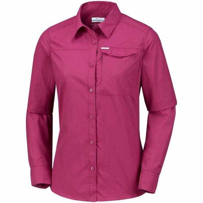 Columbia Silver Ridge II mauve manches longues, chemise de randonnée femme.