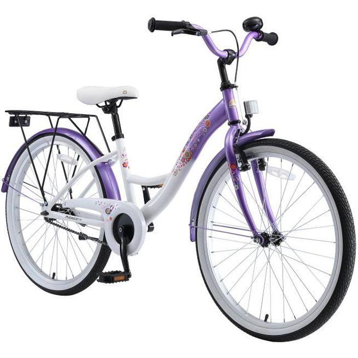 BIKESTAR - Vélo pour enfants - 24 pouces - pour garçons et filles de 10-13 ans - Edition Classique - Lilas Blanc