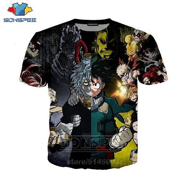 T-shirt Eté,SONSPEE – t-shirt My Hero Academia pour hommes et femmes, haut à la mode, imprimé en 3D, Anime Dabi asuyu, C001