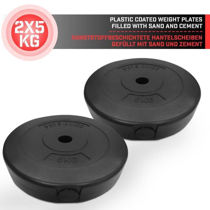 Physionics® Disques de Poids - Set de 2 x 5 kg, Ø 27 mm, avec Revêtement en Plastique - Plaques pour Haltères, Fitness, Musculation