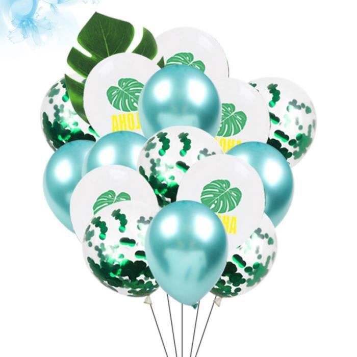 27Pcs Latex Balloons Hawaii Party Fake Palm Leaf Sequin Ballons Supplies BANDEROLE - BANNIERE - GUIRLANDE (HORS NOEL)