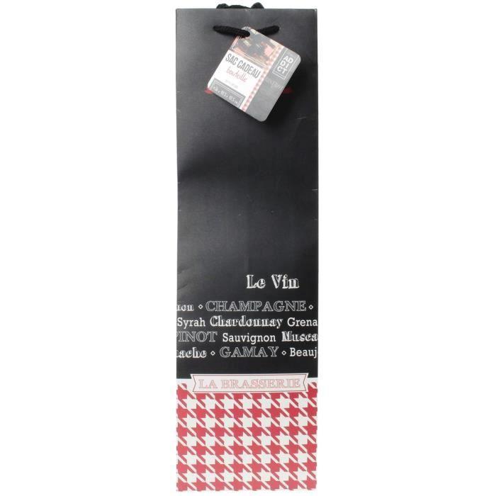 Sac Cadeau Bouteille Déco Brasserie Design Bistrot Vichy Rouge Et Noir