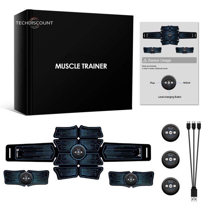 TD® Ceinture Abdominale,noir-Entraîneur muscles abdominaux-Equipement Fitness d'entraînement exercice musculaire-Electromusculation