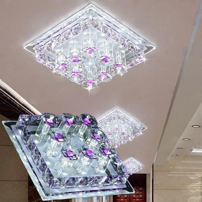 Plafonnier Lampe Cristal Lampe de Plafond Acier Inoxydable LED Miroir 12W Lustre moderne en cristal pour salon, chambre à coucher