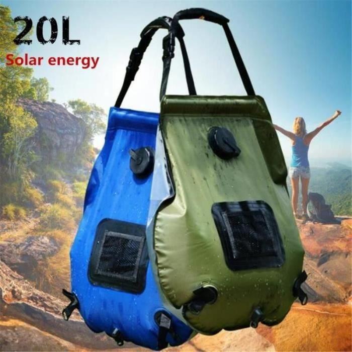 20L sac de douche solaire camping bouteille d'eau chaude Armée verte