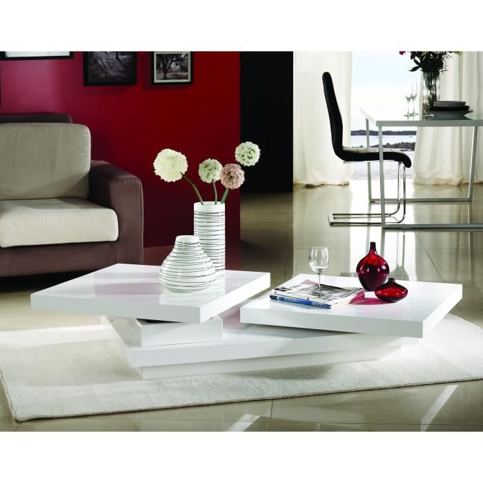 Table basse design mons pivotante laqu e blanche achat - Table basse pivotante ...