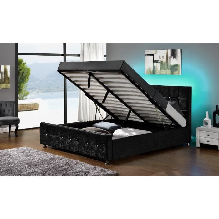 shiny lit coffre velours charbon led 140x190 cm achat. Black Bedroom Furniture Sets. Home Design Ideas