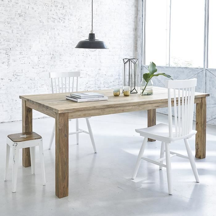 Table Rectangulaire En Teck Recycle 200cm Achat Vente Table De Jardin Table Rectangulaire En