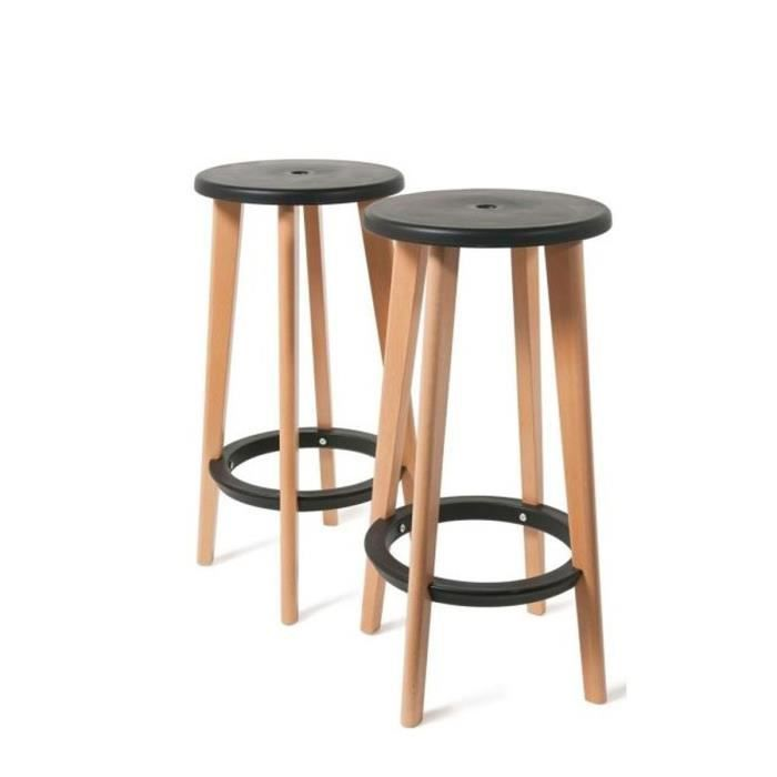 lot de 2 tabourets de bar harry 39 s couleur noir achat vente tabouret de bar noir cdiscount. Black Bedroom Furniture Sets. Home Design Ideas
