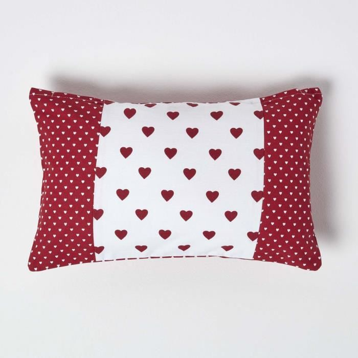 coussin d houssable rouge c urs et pois 30 x 50 cm achat. Black Bedroom Furniture Sets. Home Design Ideas