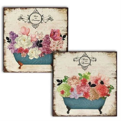 wall deco plaque murale x2 fleurs 30x30 cm achat vente affiche cdiscount. Black Bedroom Furniture Sets. Home Design Ideas