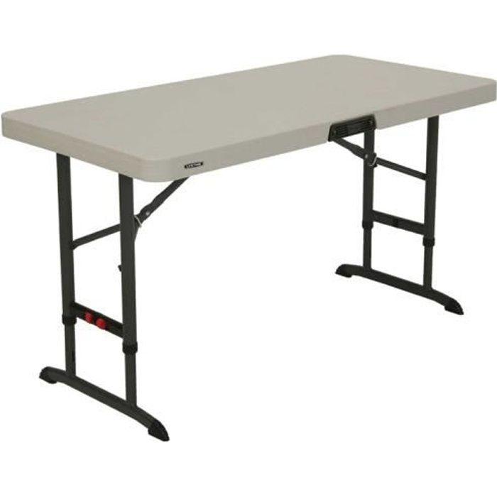 Lifetime - Table pliante rectangulaire 122cm ajustable en 3 ...