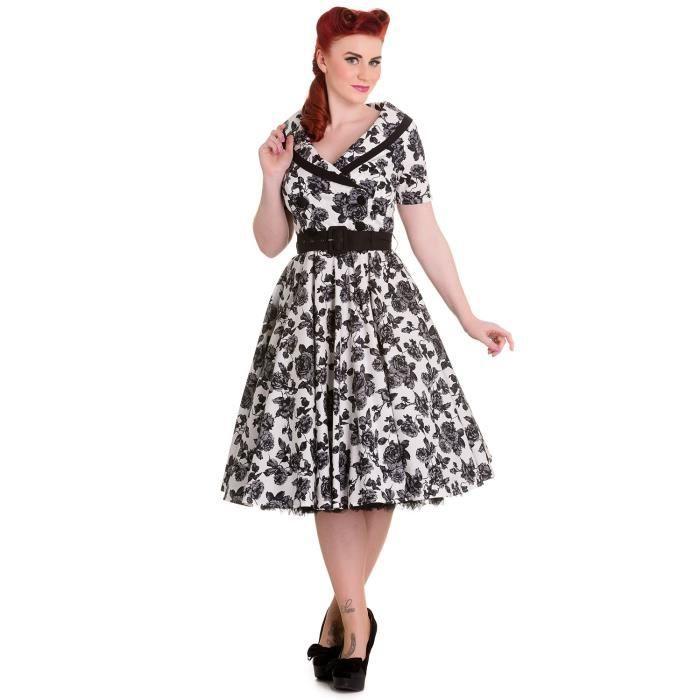Robe Vintage Retro Blanche A Fleurs Noire Avec Col Et Ceinture Hell Bunny Pinup Noir Achat Vente Robe Cdiscount