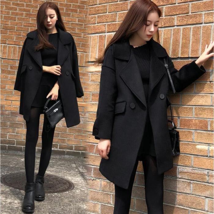 Nouveau Noir En vrac Style Manteau Femme En Laine Revers Bouton Conception Mode Tempérament Milieu Longue Manteau de Bureau Manteaux