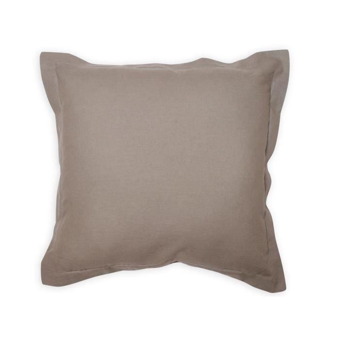 COUSSIN Coussin déco 60x60 cm en coton PANAMA gris