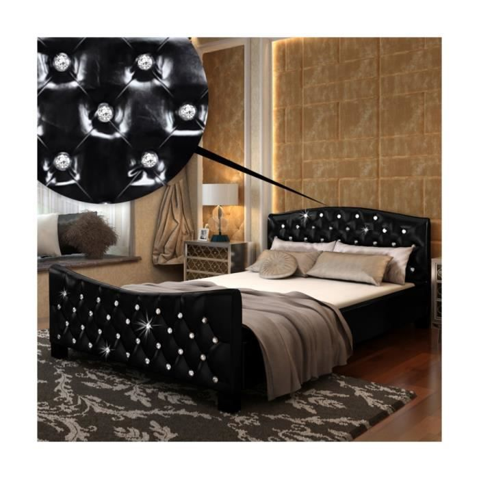 superbe lit en pu noir matelas m moire de forme 140x200cm achat vente lit complet superbe. Black Bedroom Furniture Sets. Home Design Ideas