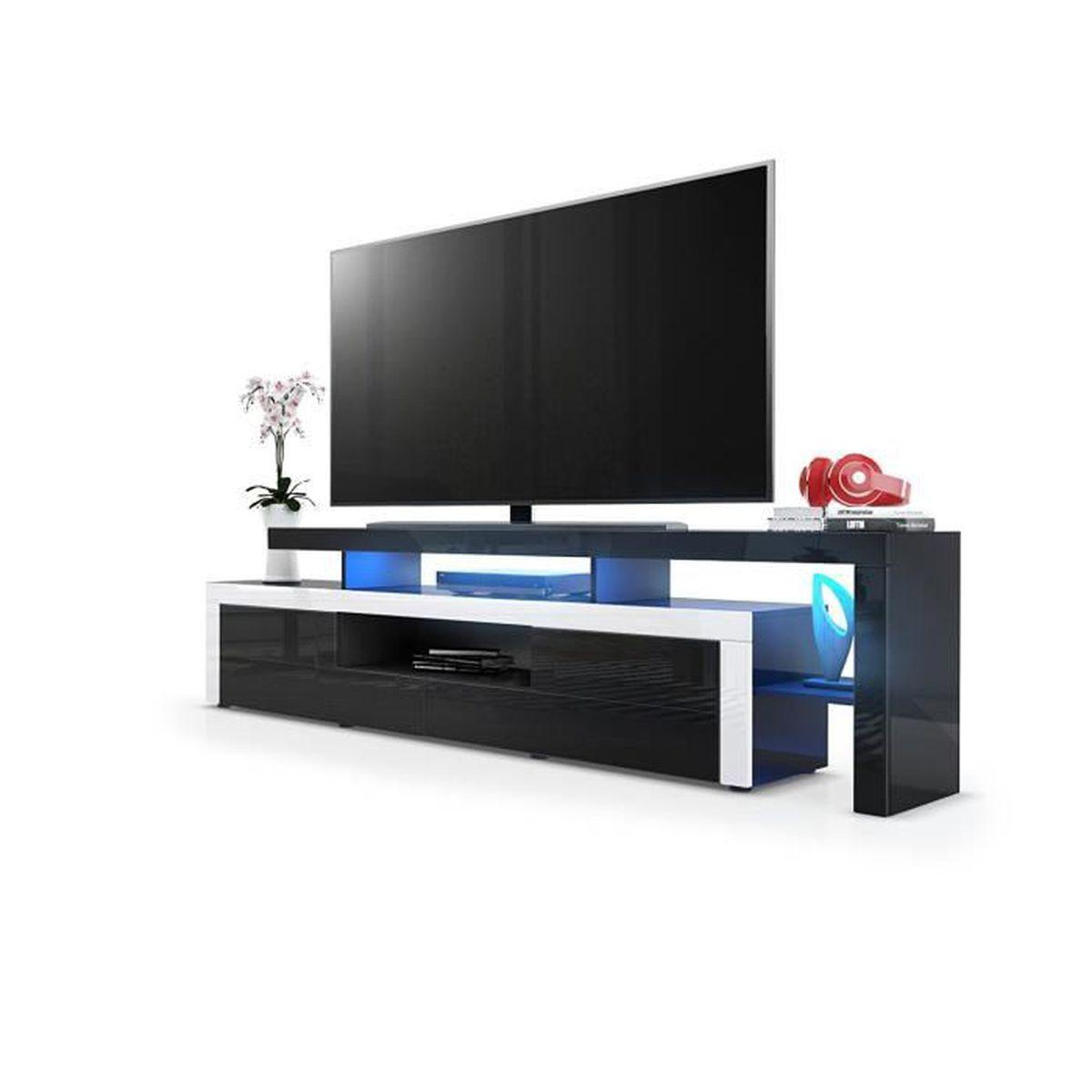 Meuble Tv Noir Blanc Laque 193 Cm Avec Led Achat Vente
