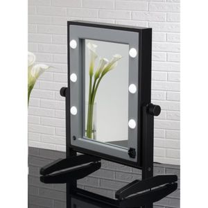 miroir maquillage lumineux de table en bois achat vente miroir salle de bain cdiscount. Black Bedroom Furniture Sets. Home Design Ideas