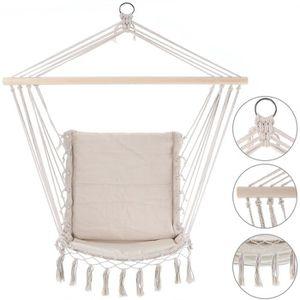 HAMAC Chaise suspendue 55x100cm crème Siège fauteuil sus