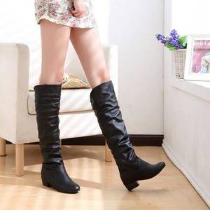 BOTTE Cuir PU Bottes Chaussures femmes loisirs de couleu