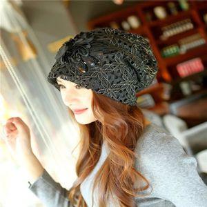 BONNET - CAGOULE Bonnet d'hiver en dentelle chapeau à la mode pour