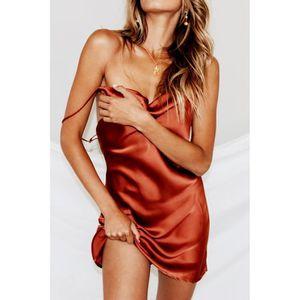 ROBE Chic Femmes Robe sexy à fines bretelles Jupe de cl