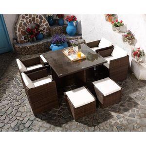 SALON DE JARDIN  Le Vito : Salon jardin chocolat encastrable en rés