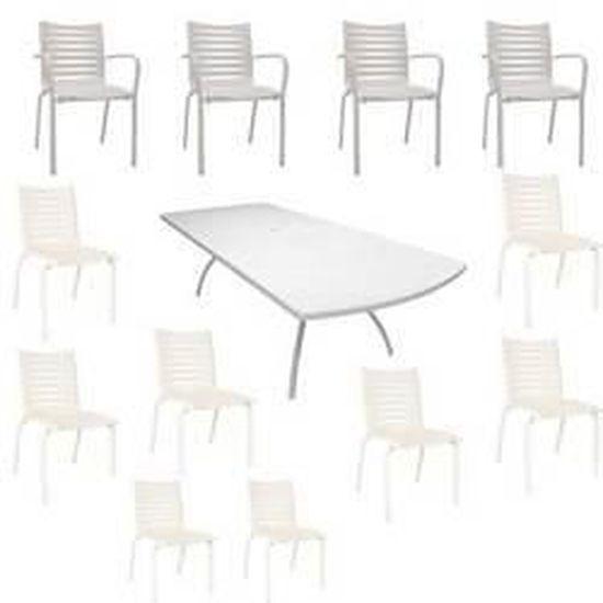 Salon Floris blanc : 1 table + 8 chaises + 4 fa… - Achat ...