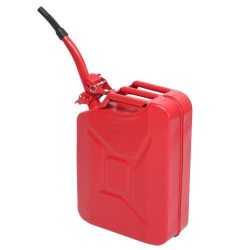 Jerrican en métal Rouge 20L - avec bec verseur 0.6 mm