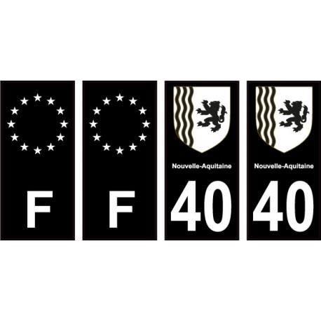 40 Landes noir autocollant plaque immatriculation auto sticker Lot de 4 Stickers - Angles : droits