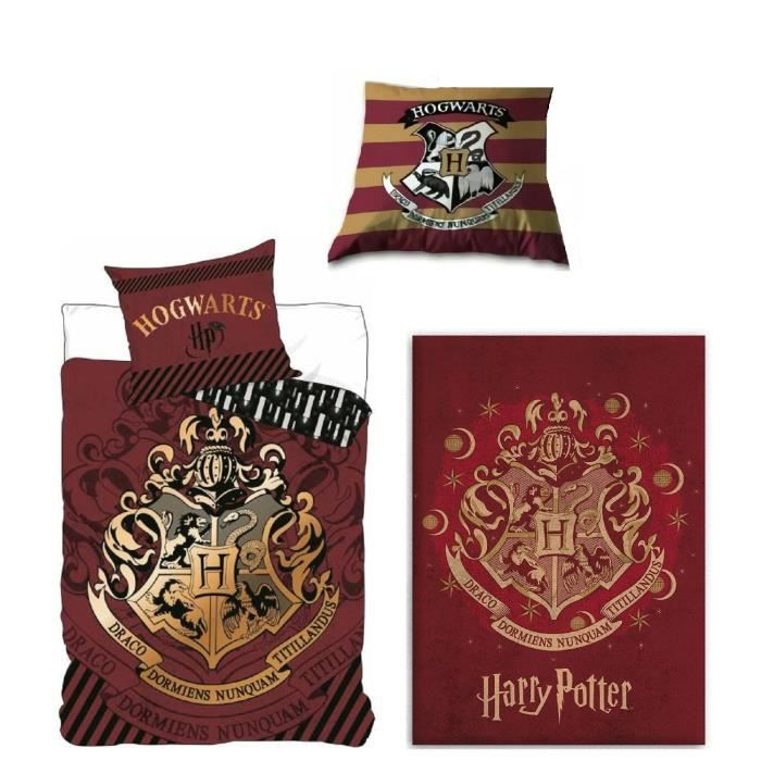 Ensemble Parure de lit + Coussin + plaid Harry Potter