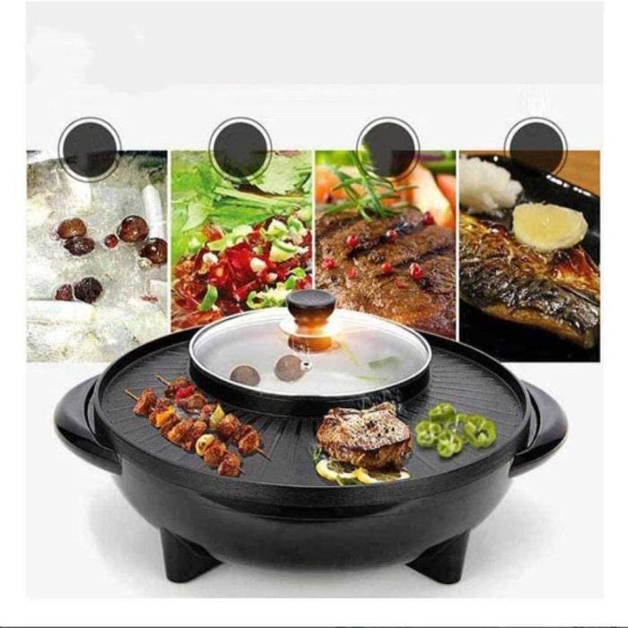 2 en 1 Fondue Electrique Hot Pot BBQ Appareil Fondue Chinoise Service à Fondue Poêle Electrique pour Barbecue Thaï Capacité Convient