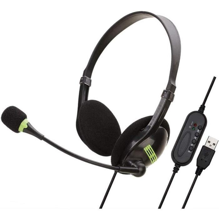 Afaneep Casque Filaire avec Micro, USB Micro Casque PC Mono Filaire Stéréo Anti-Bruit et Contrôle de Volume, Wantek Oreillette Busin