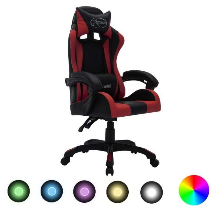 {NEUF6559Top Fauteuil de jeux vidéo avec LED Fauteuil gamer Fauteuil de bureau Ergonomique & Confort Chaise Gaming Décor - RVB Borde