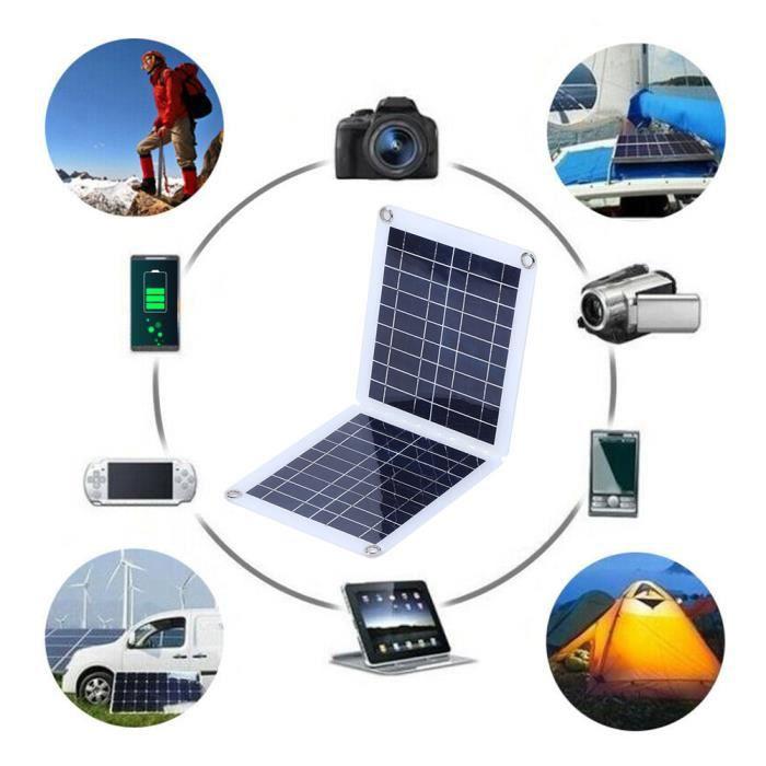 18V 30W IP67 Chargeur de batterie extérieur de panneau solaire en polysilicium portable avec charnière pliable