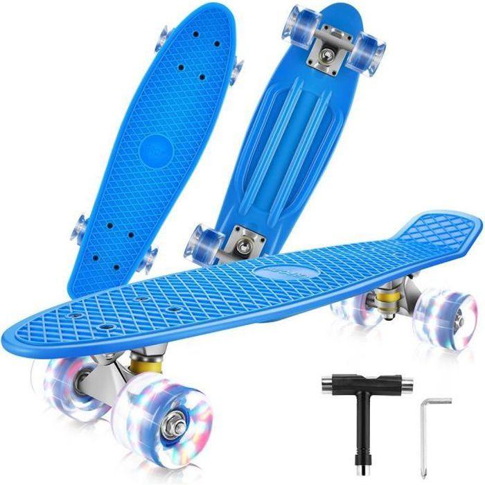 22- Skateboard Planche à roulettes, 4 Roulettes Lumineuses en PU 78A, Mini Cruiser Skateboard pour Fille Garçon Adulte, Bleu