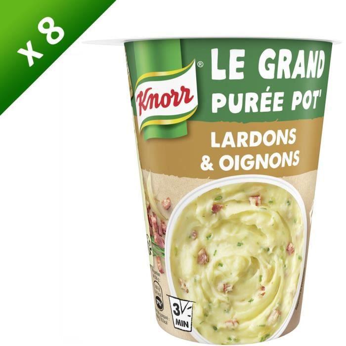 KNORR Plat Préparé Grand Pot Purée, Lardons & Oignons - Lot de 8x 76 g