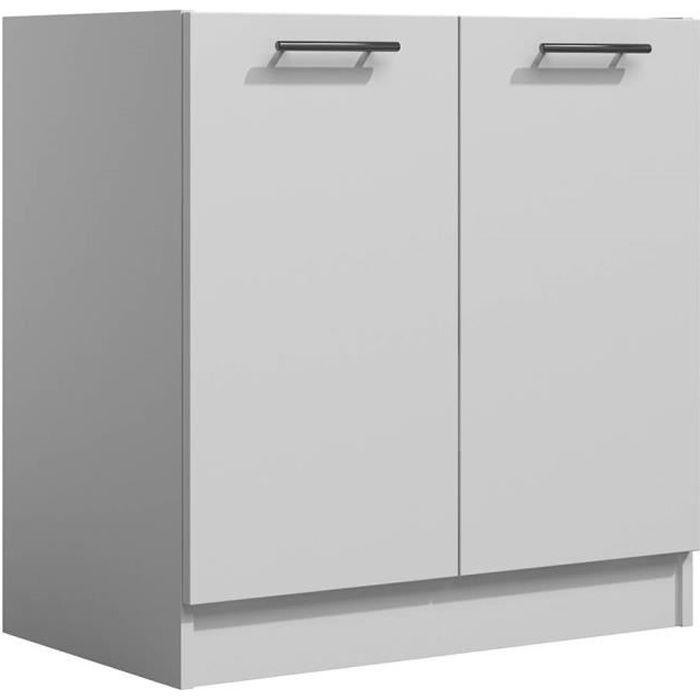 LILA - Meuble de cuisine bas 80 cm 2 portes blanc