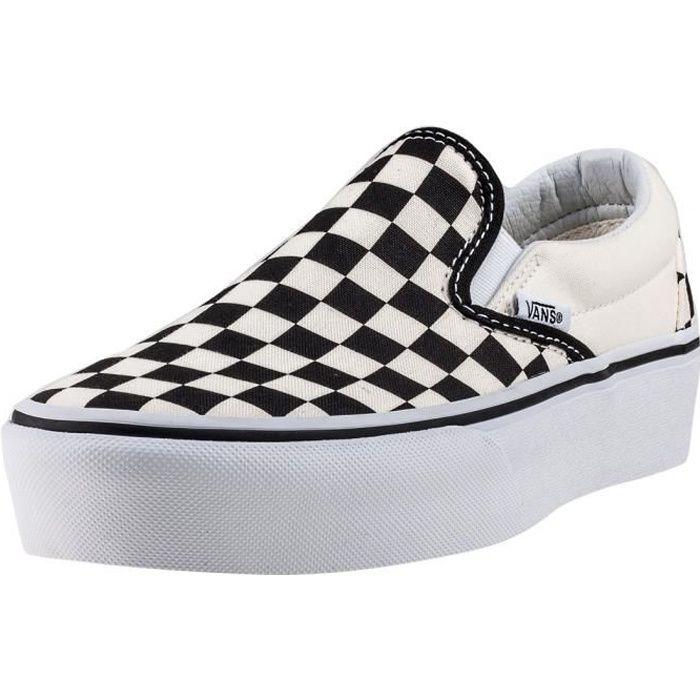 Vans Classic Slip-on Check Platform Femmes Chaussures sans lacets Blanc Noir - 5 UK