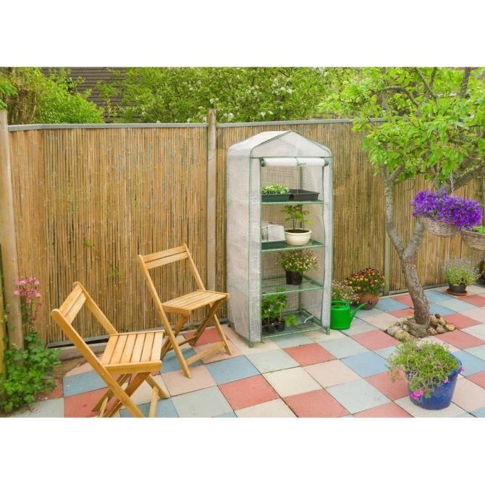 NATURE Serre de balcon avec étagères - H160 x 69 x 49 cm